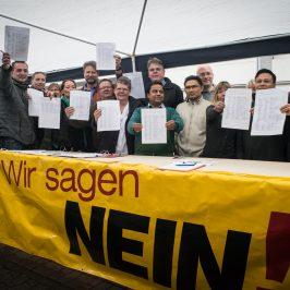 Unterschriften gegen Supermarkt in der Olvenstedter Straße
