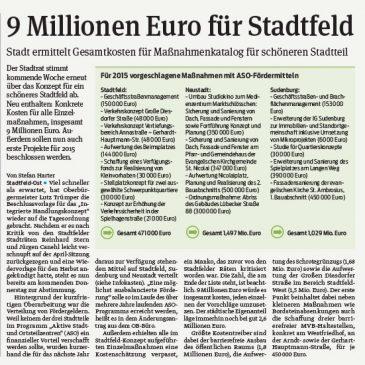 Gesamtkosten für Maßnahmenkatalog für schöneren Stadtteil – 9 Millionen Euro für Stadtfeld