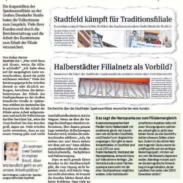 Sparkassen-Mitarbeiter an Großer Diesdorfer Straße suchen das Gespräch