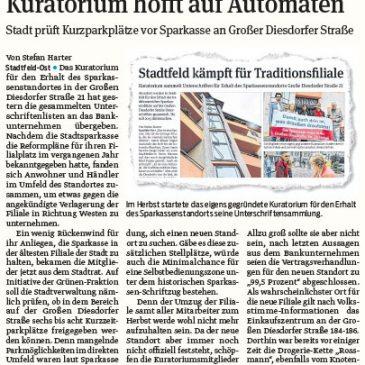 Stadt prüft Kurzparkplätze vor Sparkasse an Großer Diesdorfer Straße
