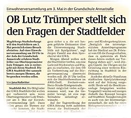 Fragen an den OB Lutz Trümper zu Stadtfeld