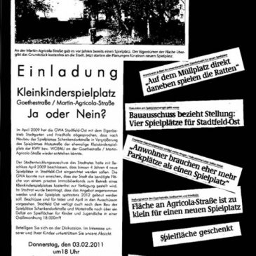 """Einladung zum GWA-Treffen Stadtfeld-Ost zum Thema """"Schaffung neuer Spielplätze in Stadtfeld-Ost"""""""