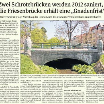 Zwei Schrotebrücken werden 2012 saniert