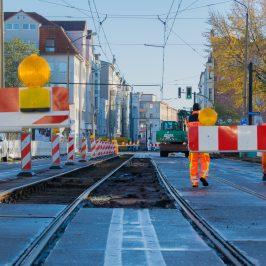 Gleissanierungsarbeiten auf der Großen Diesdorfer Straße