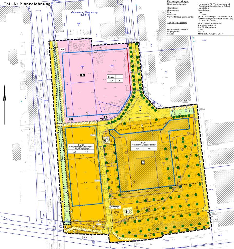 """Planzeichnung aus dem Bebauungsplan """"Klaus-Miesner-Platz"""""""