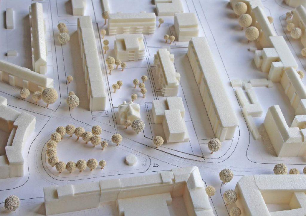 """Modellfoto aus der Drucksache Nr. 201-2 """"Olvenstedter Platz/Stormstraße"""" / Übersicht von Süden"""