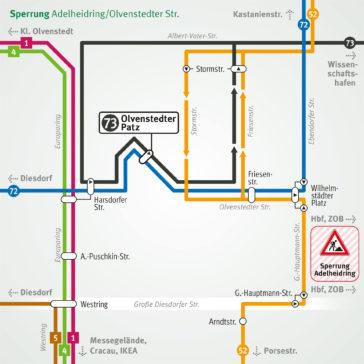 Ab 13. August für zwei Wochen kein Straßenbahnverkehr in Stadtfeld-Ost