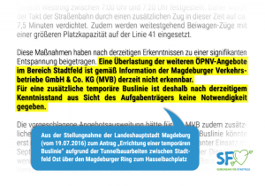 Stellungnahme der Stadtverwaltung zur Errichtung einer temporären Buslinie
